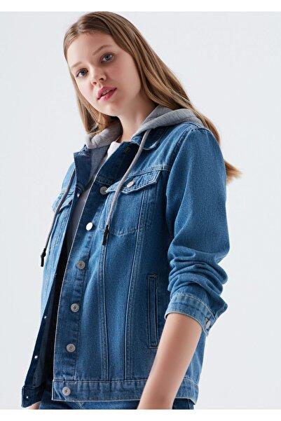 Mavi Kadın Karla Kapüşonlu Jean Ceket 110154-29899