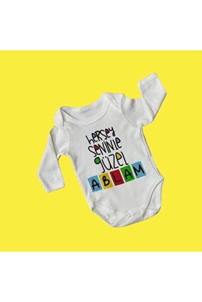 Elif Bebe Bebek Beyaz Her şey Seninle Güzel Ablam Baskılı Yazılı Body