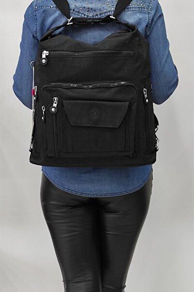 SMART BAGS Kadın Siyah Krinkıl Sırt Çantası 1205