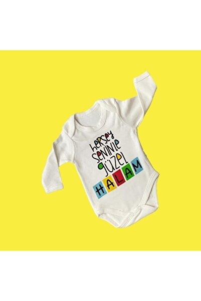 Elif Bebe Bebek Beyaz Her şey Seninle Güzel Halam Yazılı Body