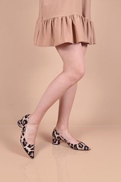 Capone Outfitters Kadın Leopar Desen Alçak Topuk  Stiletto