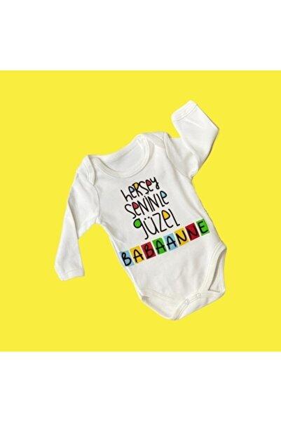 Elif Bebe Bebek Beyaz Her şey Seninle Güzel Babaanne Yazılı Body