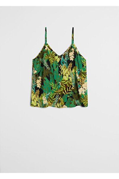Violeta by MANGO Kadın Siyah Tropikal Desenli Üst 67099210