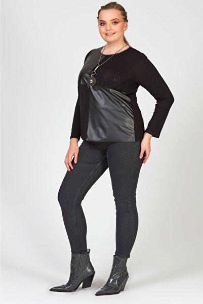 Femina Büyük Beden Siyah Boncuk Ve Deri Detaylı Bluz
