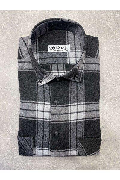 SÜVARİ Bol Kesim Siyah Çizgili Oduncu Gömleği