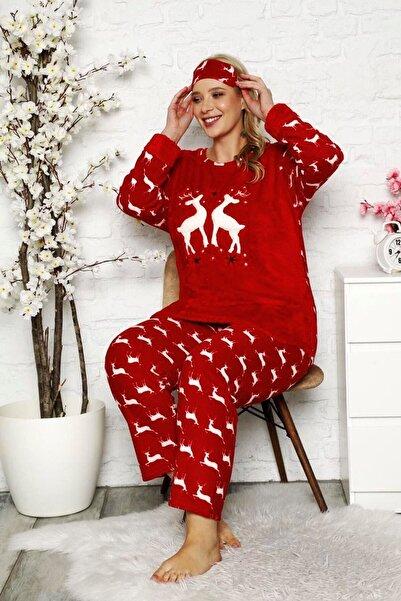 Modayız Kadın Kırmızı Welsoft Polar Pijama Takımı