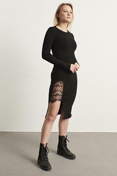 ELBİSENN Kadın Siyah Eteği Dantel Detay Tasarım Kalem Elbise