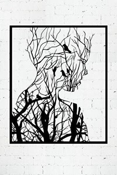 Ormandan Doğan Kadın Lazer Kesim Metal Duvar Tablo 70x87cm