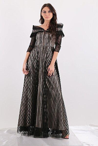 Mileny Kadın Kayık Yaka Payetli Uzun Abiye Elbise