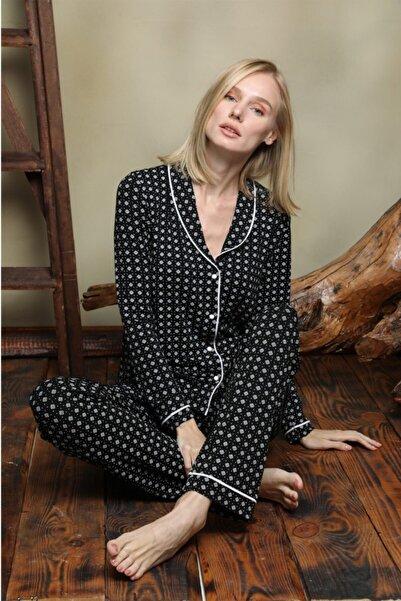 İPEKTENİM TEKSTİL Kadın Siyah Beyaz Gömlek Pijama Takım