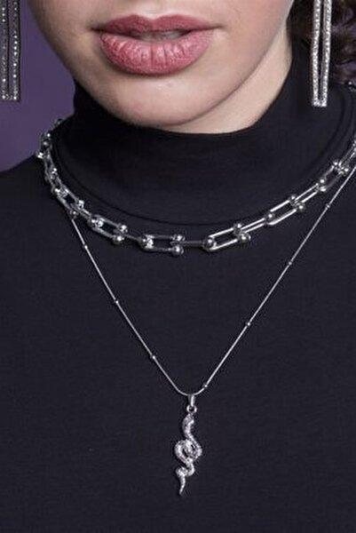 Kadın Gümüş Kombin Kolye 057
