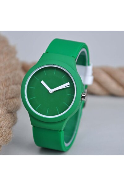 WatchArt Yeşil Silikon Kordonlu Beyaz Rakam Detay Genç Kız Kadın Kol Saati Su-167
