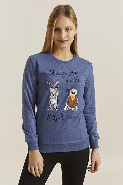 DYNAMO Kadın İndigo Baskılı Sweatshirt 19710