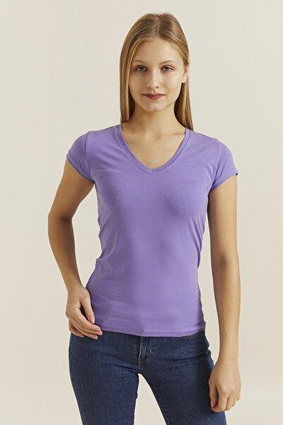 DYNAMO Kadın Violet V Yaka Likralı T-shirt 19062
