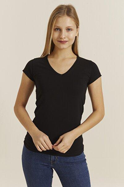 DYNAMO Kadın Siyah V Yaka Likralı T-shirt 19062