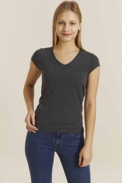 DYNAMO Kadın Antrasit V Yaka Likralı T-shirt 19062