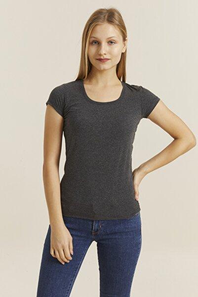 DYNAMO Kadın Antrasit Kare Yaka Likralı T-shirt 19060