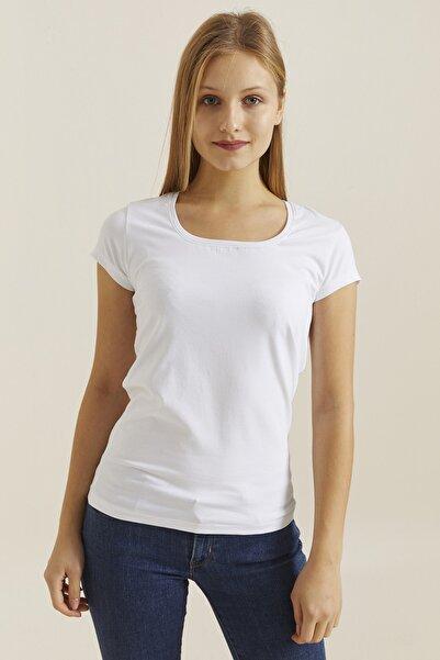 DYNAMO Kadın Beyaz Kare Yaka Likralı T-shirt 19060