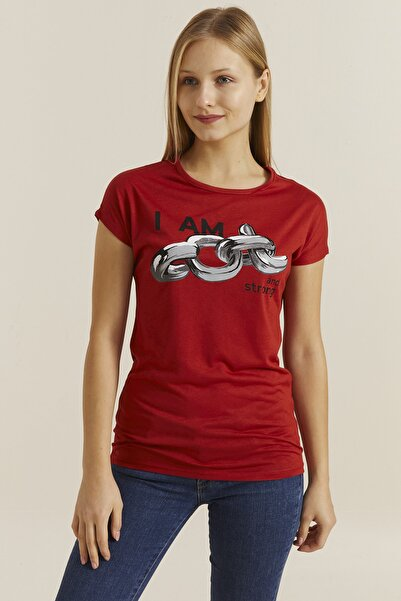 DYNAMO Kadın Kiremit Baskılı T-shirt 19493