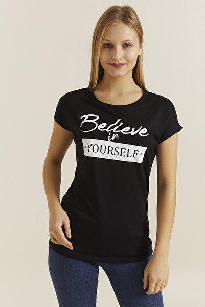 DYNAMO Kadın Siyah Baskılı T-shirt 19374