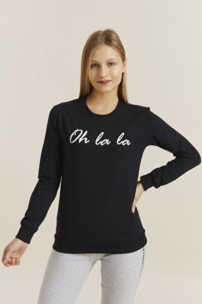 DYNAMO Kadın Siyah Baskılı Sweatshirt 19392