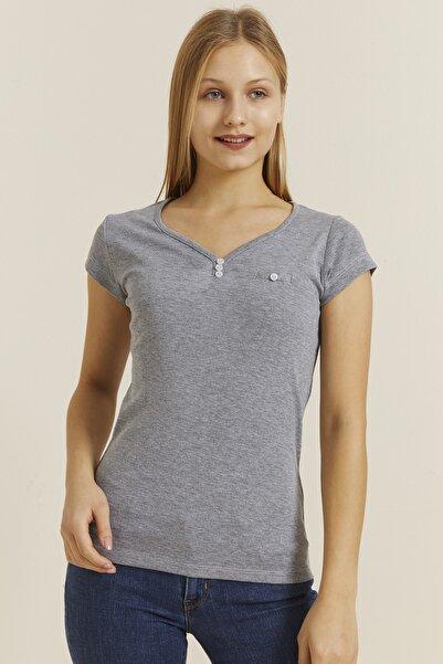 DYNAMO Kadın Grimelanj Düğmeli Yaka T-shirt 30001