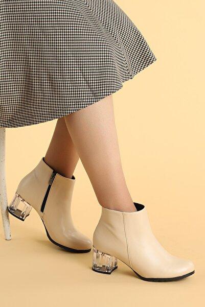 Ayakland 520 Şeffaf Cilt 6 Cm Topuk Termo Taban Kadın Bot Ayakkabı