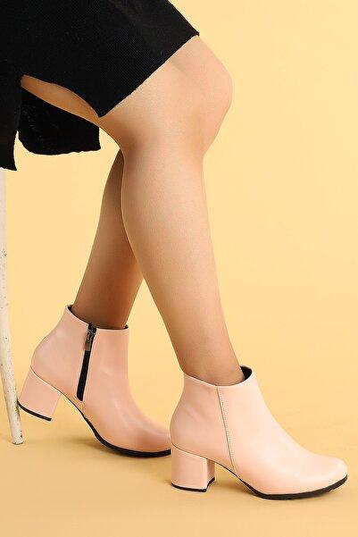 Ayakland Cilt 6 cm Topuk Termo Taban Kadın Bot Ayakkabı 520