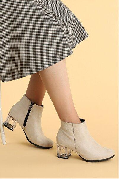 Ayakland Şeffaf Süet 6 cm Topuk Termo Taban Kadın Bot Ayakkabı 520