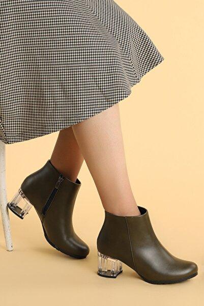 Ayakland Kadın Haki Şeffaf Cilt Topuk Termo Taban Bot Ayakkabı 520  6 cm