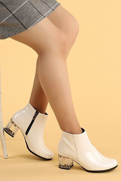 Ayakland Kadın Beyaz Şeffaf Rugan Topuk Termo Taban Bot 520 6 cm