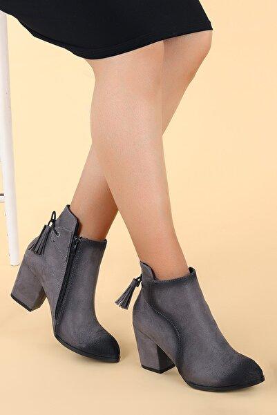 Ayakland Kadın Gri Süet Topuk Termo Bot Ayakkabı 6 cm 1111-2104