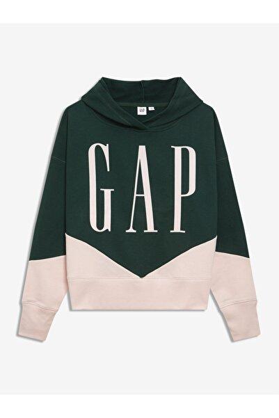 GAP Kadın Yeşil Logo Kapüşonlu Sweatshirt