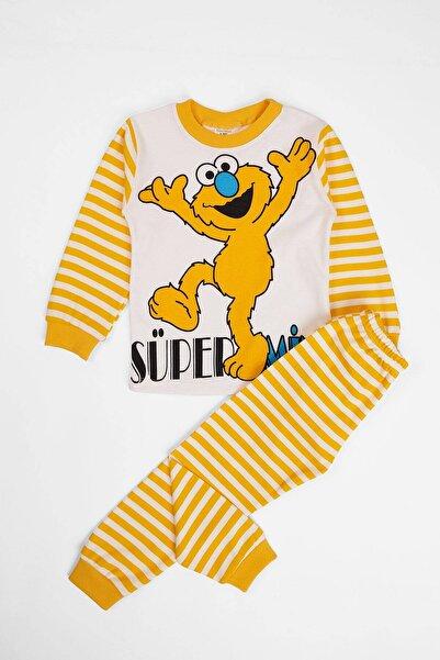 zepkids Unisex Çocuk Sarı Pijama Takımı Canavar Baskılı