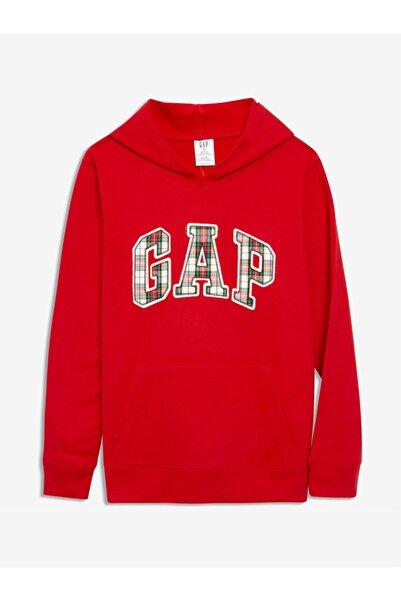 GAP Kadın Kırmızı Logo Kapüşonlu Sweatshirt