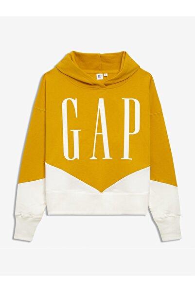 GAP Kadın Sarı Logo Kapüşonlu Sweatshirt