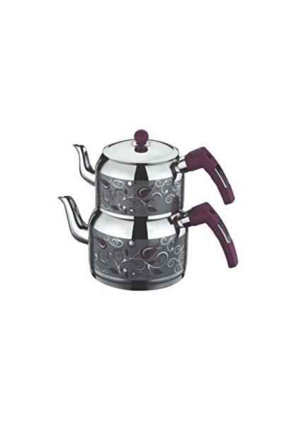 SILA Gri Dekorlu Desenli Çaydanlık