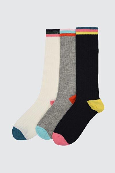TRENDYOLMİLLA 3'lü Çok Renkli Örme Çorap TWOAW21CO0115