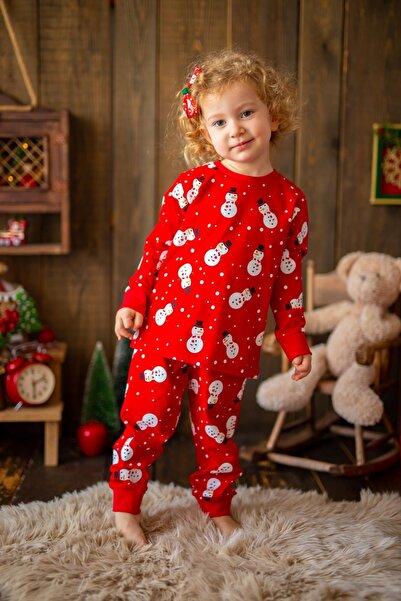 PixyLove Kırmızı Unisex Pijama Takımı Snowman