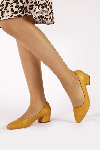 Hayalimdeki Ayakkabı Sandra Hardal Cilt Topuklu Ayakkabı