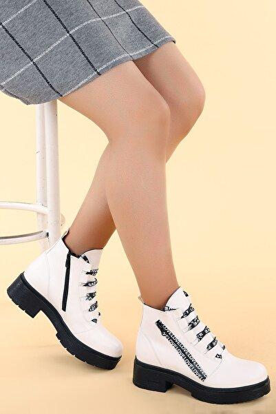 Ayakland Kadın Beyaz Cilt 4cm Fermuarlı Termo Bot Ayakkabı