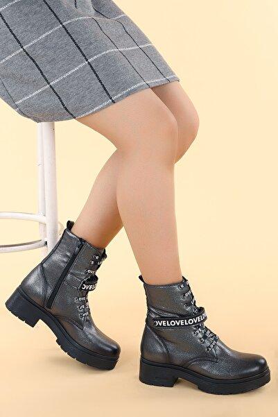 Ayakland 2463-2102Kadın Platin Cilt 4cm Fermuarlı Termo  Bot Ayakkabı