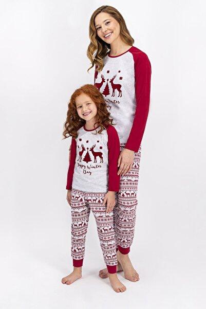 ROLY POLY Anne Kız Kombin Kırmızı Yılbaşı Pijama Takım