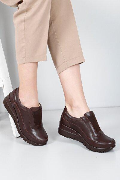 G.Ö.N Kadın Kahverengi Hakiki Deri Günlük Ayakkabı 45326