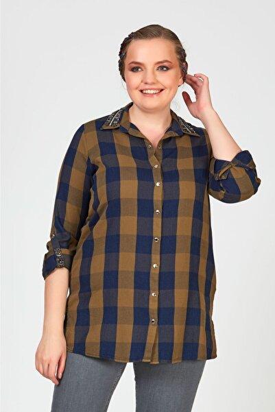Femina Büyük Beden Kadın Haki Yakası Taşlı Ekose Gömlek