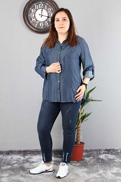 Günay Giyim Kadın Lacivert Gömlek