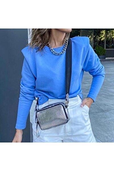 Flow Kadınlar Gününe Özel Mavi Vatkalı Sweatshirt-bluz