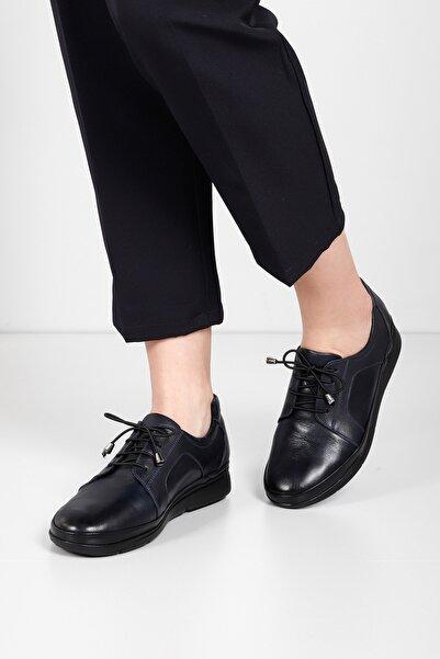 G.Ö.N Kadın Lacivert Hakiki Deri Günlük Ayakkabı 45030