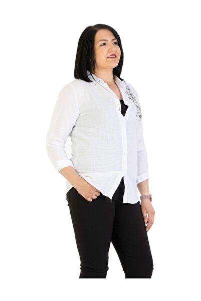 Günay Giyim Kadın Beyaz Gömlek Bk1111