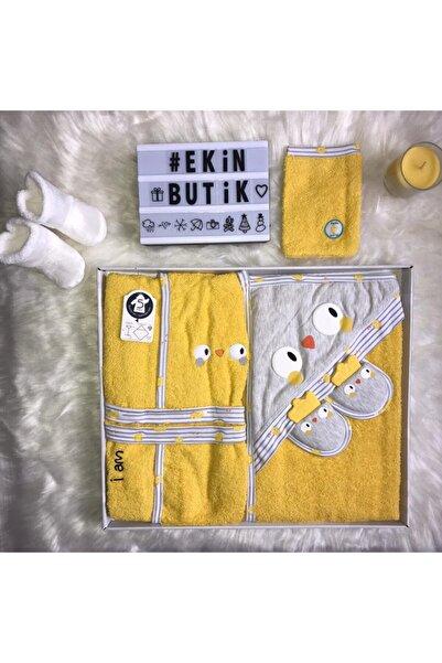 Miniworld Sarı Civiciv Ekinbutik Bebek Bornoz Takımı S 4 Parça